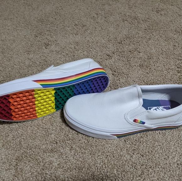 Box Vans Rainbow Pride Slip Ons Size